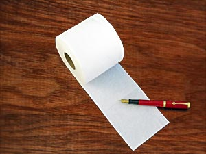 Toilet paper and pen