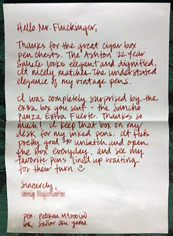 Letter from a box purchaser