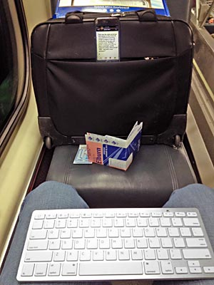 Writing setup on plane